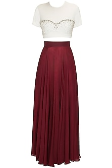 White and Maroon Crystal Embellished Crop Top and Skirt Set. by Pernia Qureshi