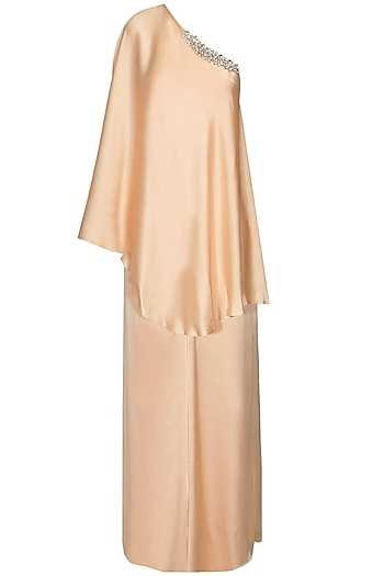 Peach Crystal Embellished One Shoulder Cape and Palazzo Pants by Pernia Qureshi