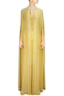Gold Embroidered Trapeze Line Cape by Pernia Qureshi