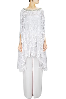 Pale Grey Net Embroidered Kaftan Cape with Double Layered Pants by Pernia Qureshi