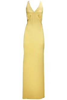 Gold Cross-Over Straps Gown by Pernia Qureshi