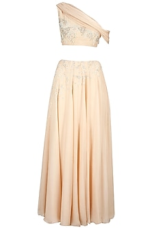 Soft Peach Floral Embroidered Lehenga Set by Pernia Qureshi