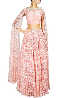 Rose Pink Bead and Pearl Embroidered Lehenga with Floor Length Sleeve Blouse by Pernia Qureshi