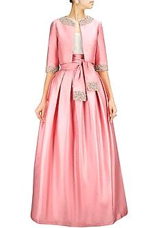 Dusty Pink Box Pleat Taffeta Skirt with Sash by Pernia Qureshi