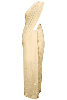 Soft Peach Pearl and Crystal Floral Embroidered Sari with Sweetheart Neck Blouse by Pernia Qureshi