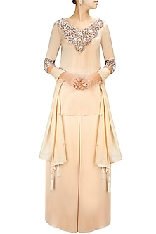 Soft Peach Crystal and Sequin Embellished Kurta with Satin Palazzos by Pernia Qureshi
