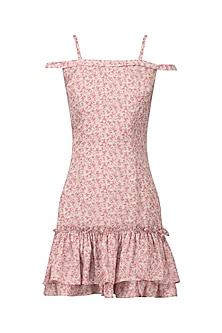 Off white and pink floral printed dress by PERNIA QURESHI