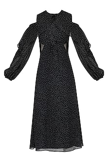 Black polka ruffled dress by PERNIA QURESHI