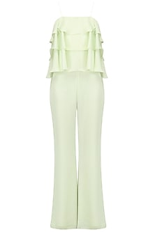 Mint green ruffled jumpsuit by PERNIA QURESHI