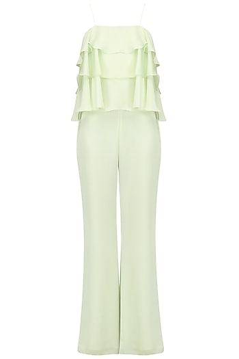 Mint green ruffled jumpsuit by PERNIA QURESHI