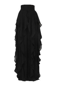 Black ruffled panel pants by PERNIA QURESHI