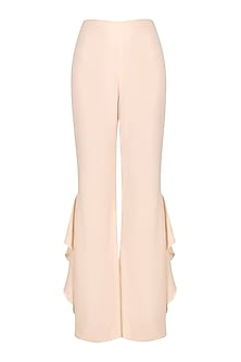 Pale pink ruffled pant by PERNIA QURESHI