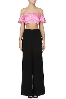Pink polka off-shoulder crop top by PERNIA QURESHI