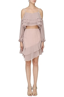 Pale pink polka top with ruffled skirt set by PERNIA QURESHI
