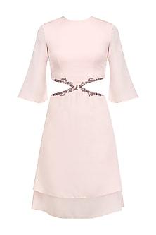 Pale Pink Cutout Dress by Pernia Qureshi