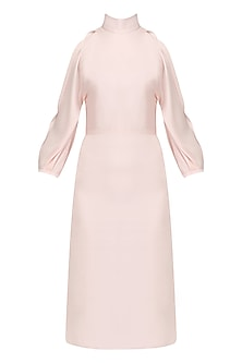 Pale Pink Cold Shoulder Dress by Pernia Qureshi