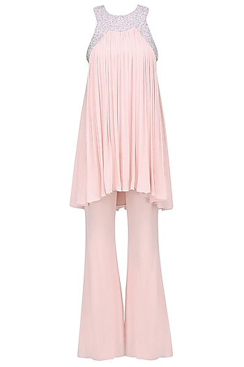 Blush Embellished Tunic and Flared Pants Set by Pernia Qureshi