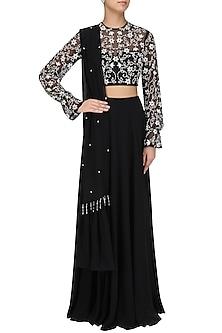 Black Embellished Lehenga Set by Pernia Qureshi