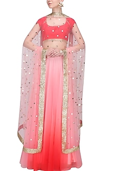Red and Pink Ombre Lehenga Skirt and Blouse Set by Pernia Qureshi