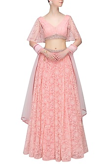 Candy Pink Pearl and Crystal Embellished Lehenga and Embroidered Blouse Set by Pernia Qureshi