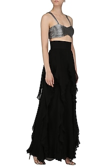 Grey Metallic Ruched Bralette by Pernia Qureshi