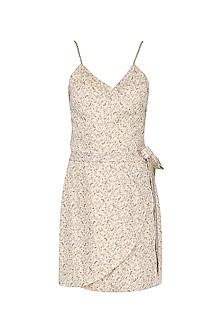 Beige Paisley Print Wrap Dress by Pernia Qureshi