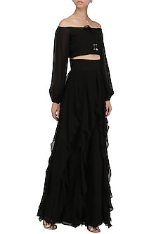 Black Wide Neck Crop Top by Pernia Qureshi