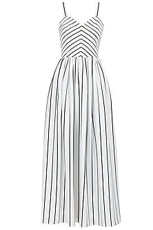 Stripe maxi draped dress by Pernia Qureshi