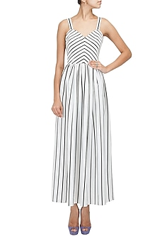 Stripe maxi draped dress by Pernia Qureshi