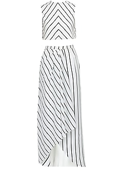Stripe crop top and draped skirt set by Pernia Qureshi