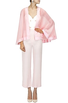 Blush Pink Sheer Short Cape by Pernia Qureshi