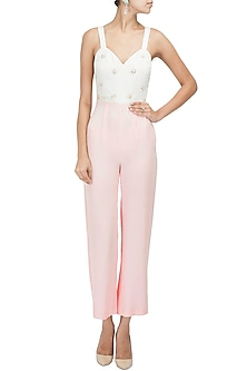 Blush Pink Embellished Motifs Jumpsuit by Pernia Qureshi