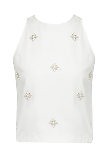 Cream Embellished Motifs Short Top by Pernia Qureshi