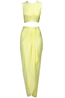 Yellow Crop Top and Draped Skirt Set by Pernia Qureshi