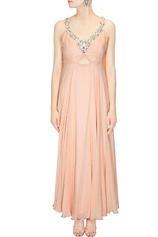 Peach Crystal Stone Embellished Shoulder Drape Anarkali Suit by Pernia Qureshi