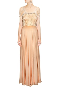 Peach Crystal Embellished Floor Length Chiffon Gown by Pernia Qureshi