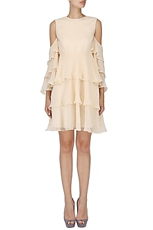Pale Peach Layered Ruffled Dress by Pernia Qureshi