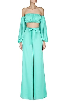 Sea Green Off Shoulder Crop Top with Palazzo Pants Set by Pernia Qureshi
