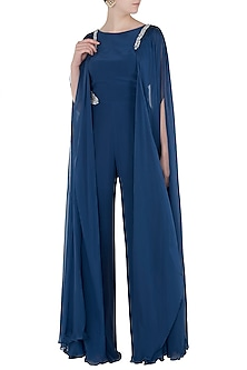 Navy Blue Embroidered Drape Sleeves Jumpsuit by Pernia Qureshi