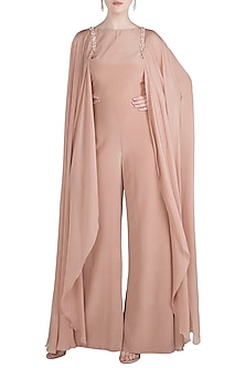 Dusky Peach Embroidered Drape Sleeves Jumpsuit by Pernia Qureshi