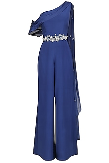 Navy Blue Embellished Drape Jumpsuit by Pernia Qureshi