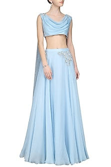 Blue Embroidered Drape Blouse With Lehenga Skirt by Pernia Qureshi