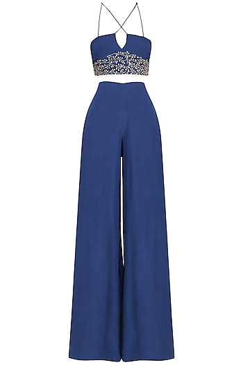 Navy Blue Embroidered Bustier With Palazzo Pants Set by Pernia Qureshi