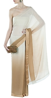 Ivory- Beige Ombre Sari by Pernia Qureshi