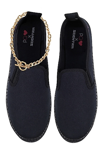 Black Slip On Shoes with Attached Gold Chain by Pernia Qureshi x Scentra