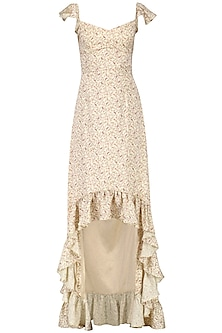 Beige Paisley Print Ruffled Maxi Dress by Pernia Qureshi