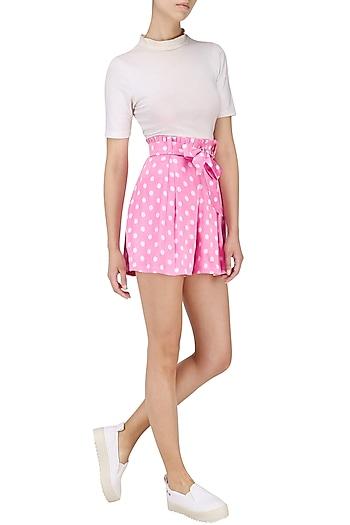 Pink Polka Dotted Shorts by Pernia Qureshi