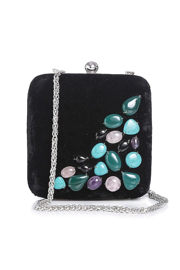 Black Gemstone Embroidered Bag by Praccessorii