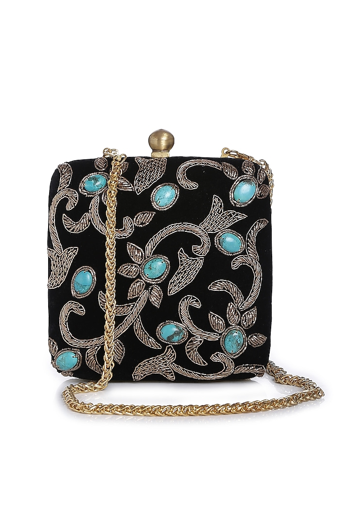 Black & Gold Embroidered Bag by Praccessorii