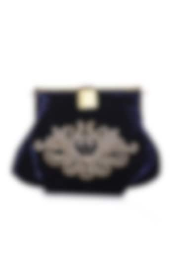 Black Velvet Embroidered Box Clutch by Praccessorii
